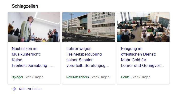 Gelistet neben den großen Informationsanbietern: News4teachers auf Google.
